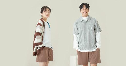 UUU 프리미엄 모달 홈웨어 반바지 브라운/네이비 남녀공용 커플 파자마 잠옷 이지웨어